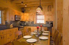 A Rolling River Cabin | Cabin Rentals of Georgia | Open Kitchen/Dining