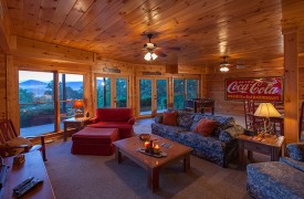 All Inspired Lodge | Cabin Rentals of Georgia | Terrace Level Living Area
