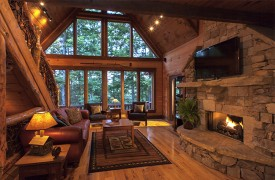 Hemlock Hideaway | Cabin Rentals of Georgia | Main Floor Twilight
