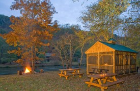 Fallen Timber Lodge | Cabin Rentals of Georgia | Picnic Area & Fire Pit