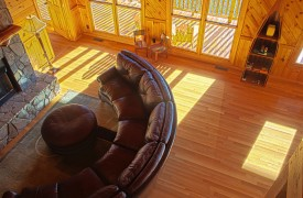 Serendipity On Noontootla Creek | Cabin Rentals of Georgia | Leather Sofa