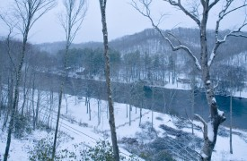 Fallen Timber Lodge | Cabin Rentals of Georgia | Winter Along River
