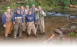 a small fly fishing corporate event on Wilscot Creek in North Georgia